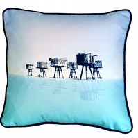 "Luxury ""Shivering Sands"" Sea Fort Silk Cushion 36 cm x 36 cm"