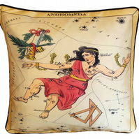 Andromeda, Luxury Silk Cushion 42 x 42 cm with Swarovski crystals (AB) & pad