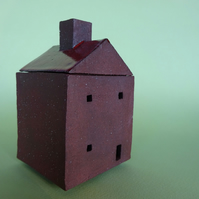 Small ceramic house box, small container, trinket box, incense burner