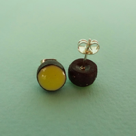 Ceramic yellow ear studs, small ear-studs, bright earrings, boho earrings