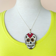 Sugar Skull Ceramic Pendent Necklace