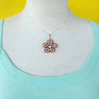 Pink Ceramic Cherry Blossom Pendant Necklace