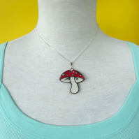 Toadstool mushroom pendant necklace in red