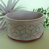 Beige blue oval geometric small plant pot on 4 feet