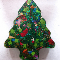 Multi-Coloured Chunky Glitter Christmas Tree Brooch