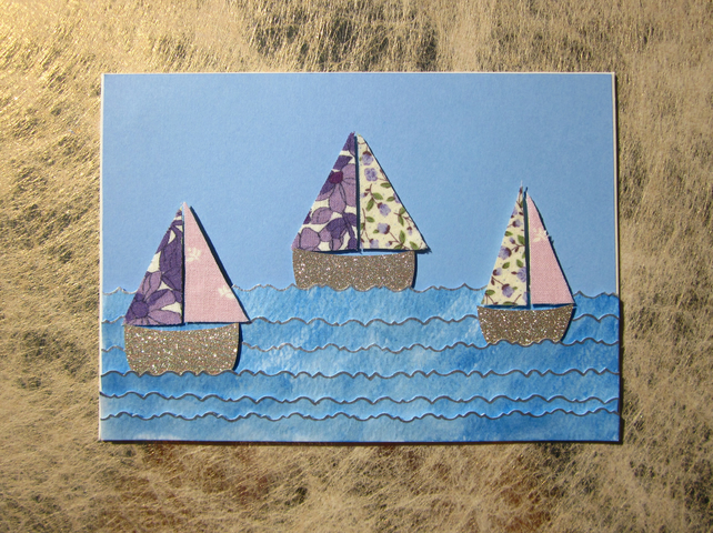 Seaside Purple Sail Boats Greeting Card
