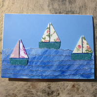 Seaside Pink Sail Boats Greeting Card
