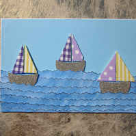 Seaside Purple and Yellow Stripes Sail Boat Card