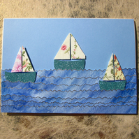 Seaside Flowers Sail Boat Greeting Card