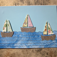 Seaside Very Pretty Flower Sail Boat Card