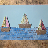 Seaside Golden Sail Boat Flower Fabric Card