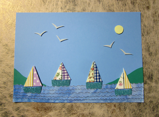 Seaside Sail Boats and Seagulls Nautical Picture