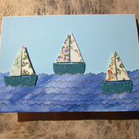 Seaside Teal-green Flower Fabric Sail Boat Card
