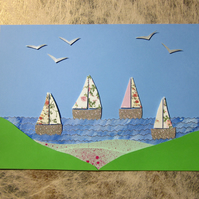 Seaside Pink Flower Landscape Sail Boat Nautical Picture