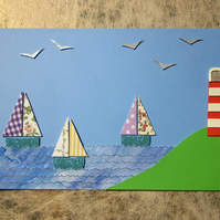 Seaside Sail Boats and Lighthouse Nautical Picture