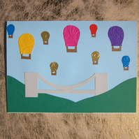 Golden Bristol Balloons Greetings Card – Clifton Suspension Bridge