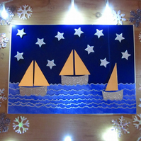 Seaside Golden Sail Boats Christmas Card