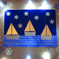 Seaside Golden Snowflakes Sail Boats Christmas Card