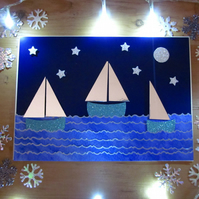Seaside Silver Sailboats Stars and Moon Christmas Card