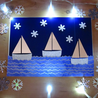 Seaside Sailboats Silver Snowflakes Christmas Card