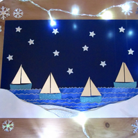 Christmas Seaside Snowy Hills Sail Boats Picture