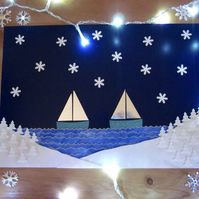 Christmas Seaside Snowy Fir Trees Sail Boats Picture