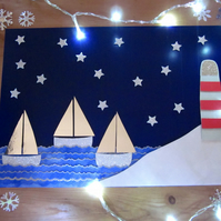 Christmas Lighthouse Seaside Sail Boats Picture