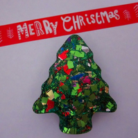 Glittery Christmas Tree Brooch