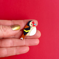 Wooden bird pin. Goldfinch badge. Bird brooch