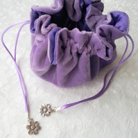 Lilac velvet drawstring jewellery bag