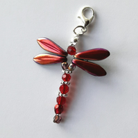 Red glass dragonfly bag charm keyring