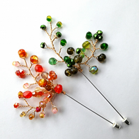 Autumn colours bead spray brooch pin