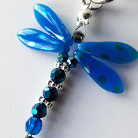 Blue glass dragonfly bag charm keyring - Christmas stocking filler