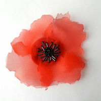 Red poppy textile Organza flower brooch - Charity giving