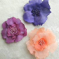 Colourful handmade Organza textile flower brooch pin - Christmas gift