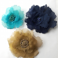 Organza textile flower brooch pin - Colourful fabric Christmas gift