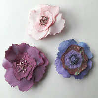 Organza fabric flower brooch, Buttonhole corsage pin, Textile Christmas gift