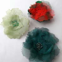 Delicate organza fabric flower brooch pin - Colourful Christmas gift