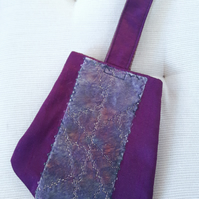 Purple silk evening purse - embroidered mini wrist bag - Luxury gift