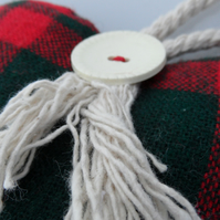 Heart  Padded Door Hanger in Tartan Fabric with Vintage Button and Cord Trim