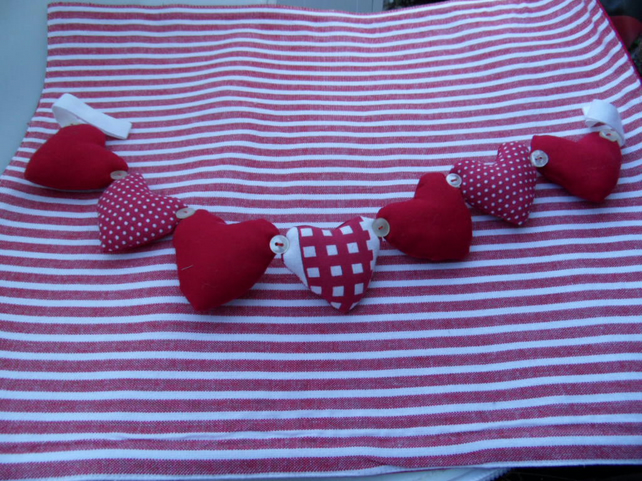 Bunting Red Padded Hearts And Polka Dots Hom Folksy
