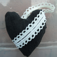 Heart Shaped Black Denim Door Hanger Padded Item with Vintage Lace Trim Hanger