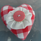 Red Gingham  Padded Fabric Brooch with Striped Button in Centre