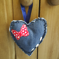 Heart Padded Door Hanger in Denim Fabric with Buttons and Butterfly Shape Detail