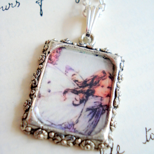 Lavender Flower Fairy Charm Necklace