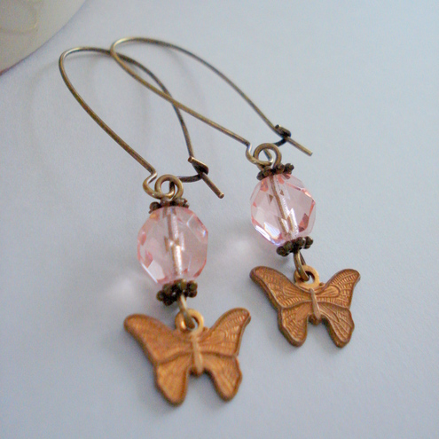 Rose Pink Butterfly Earrings on Antique Brass
