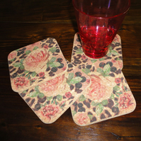 English Garden Pink Rose & Skin Print Cork Coasters