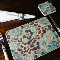 Designer Soft Blue Rose & Skin Print Cork Placemats