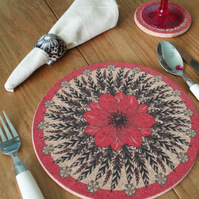 Fashionable Rose Pink Flower & Feather Cork Tablemats