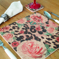 Delightful English Pink Rose & Skin Print  Cork Placemats